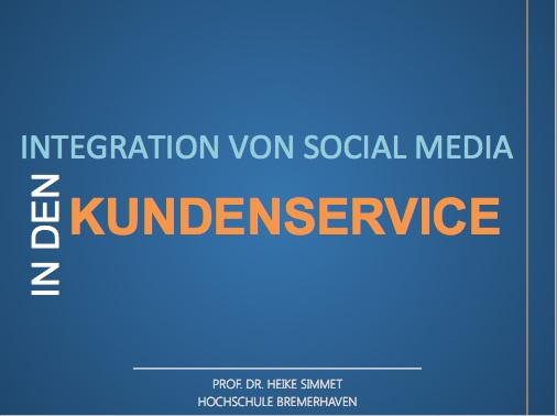 Prof. Dr. Heike Simmet: Integration von Social Media in den Kundenservice